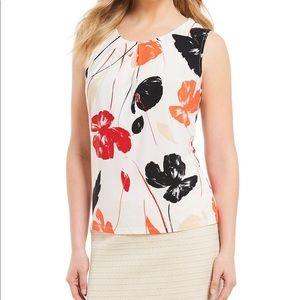 Kasper floral print sleeveless shell orange M